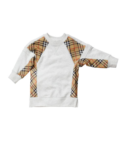 Wanda Check-Trim Sweatshirt Dress, Size 3-14