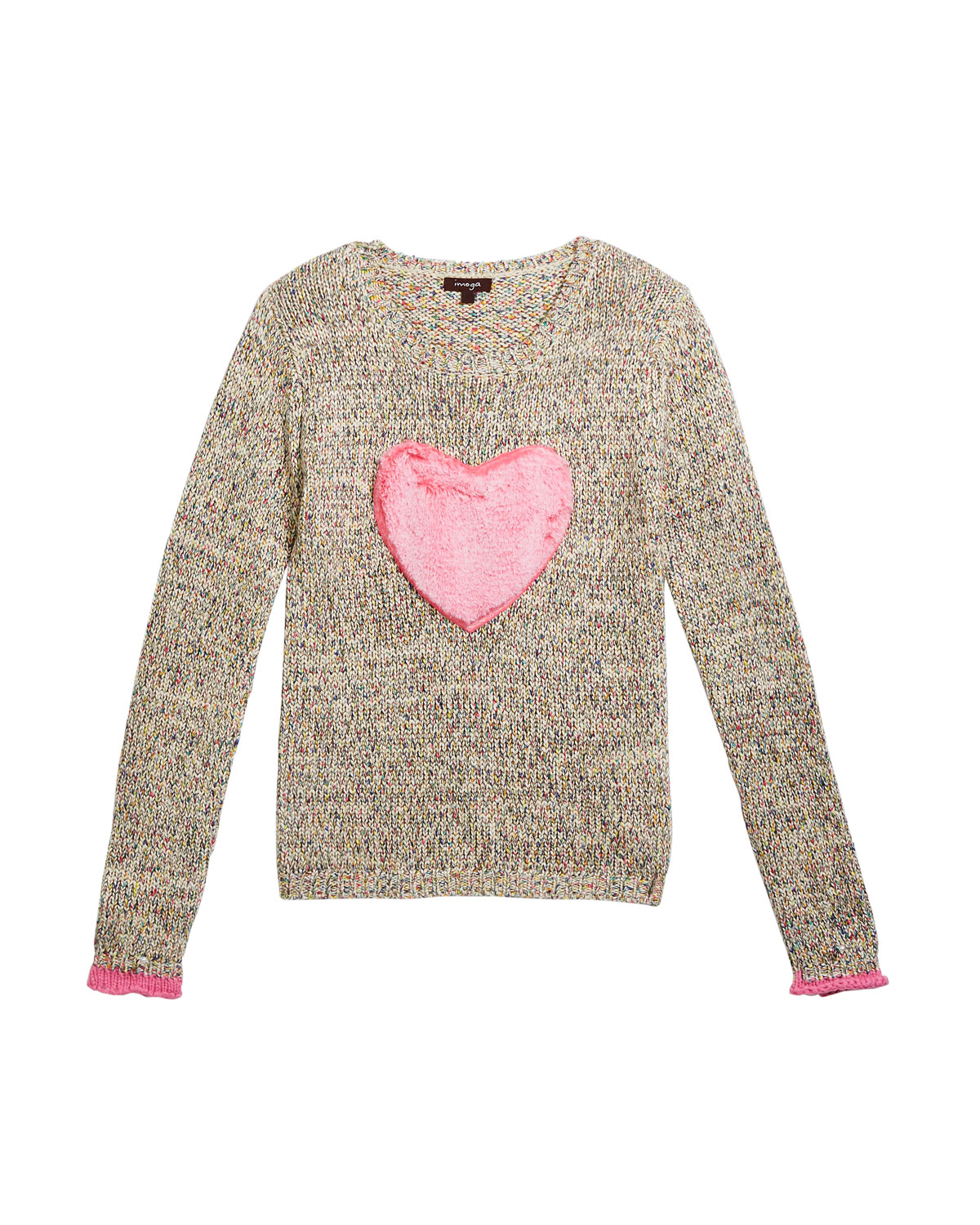 Imoga  GIRL'S MULTICOLORED KNIT SWEATER W/ FAUX FUR HEART PATCH