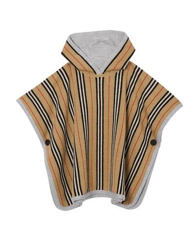 Kid's Reversible Icon Stripe Hooded Poncho, Size M-L