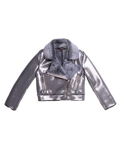 Metallic Faux Suede Jacket w/ Faux Fur Lining, Size 7-14