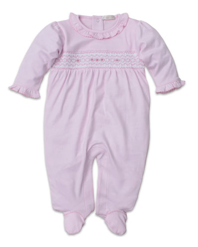 CLB Fall Smocked Ruffle-Trim Footie Playsuit, Size Newborn-9 Months