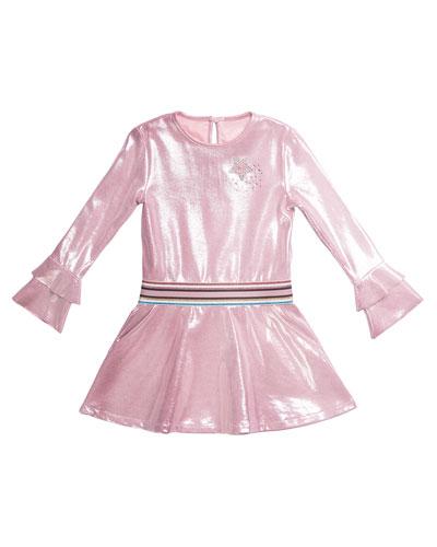 Long-Sleeve Metallic Faux Suede Dress, Size 4-6
