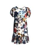 Helena Floral-Print Short-Sleeve Ruffle-Hem Chiffon Combo Dress,