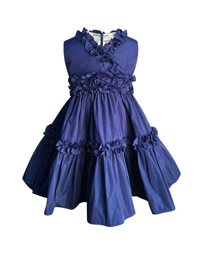 Ruffle-Trim Taffeta Dress, Size 7-14