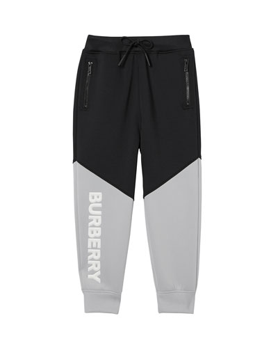 Ashley Two-Tone Neoprene Logo Joggers, Size 3-14