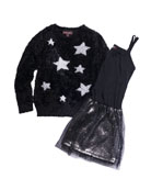Imoga Sleeveless Chiffon Dress w/ Yarn Star Intarsia