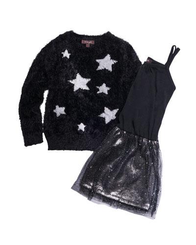 Sleeveless Chiffon Dress w/ Yarn Star Intarsia Sweater, Size 4-6