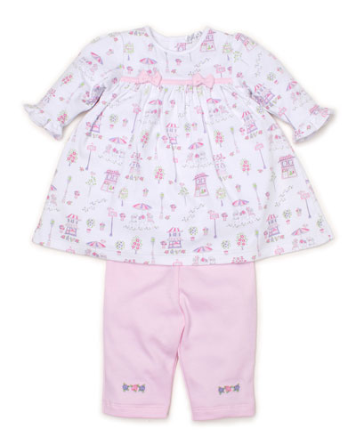 Parisian Promenade Printed Dress w/ Embroidered Leggings, Size 3-24 Months