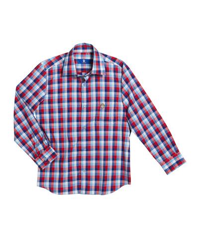 Boys' Checked Long-Sleeve Shirt, Size 6-14