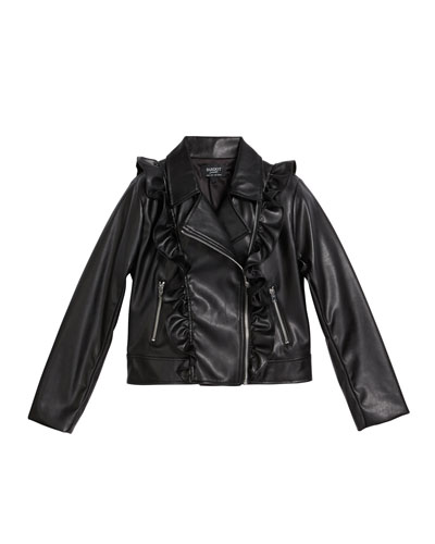 Girl's Chloe Ruffle Faux-Leather Jacket, Size 8-16