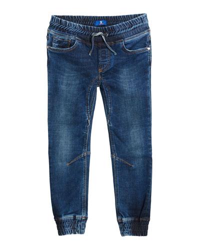 Kids' Denim Sport Trousers, Size 6-14