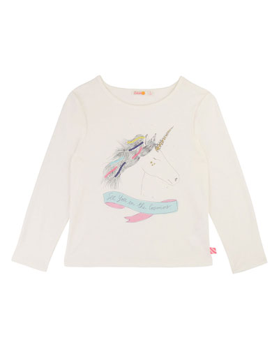 Girls' Unicorn Long-Sleeve Tee, Size 4-12