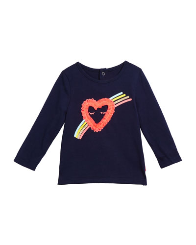 Girl's Heart & Rainbow Long-Sleeve Tee, Size 12M-3