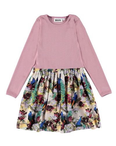 Credence Ribbed Long-Sleeve Dress w/ Printed Skirt, Size 2T-12