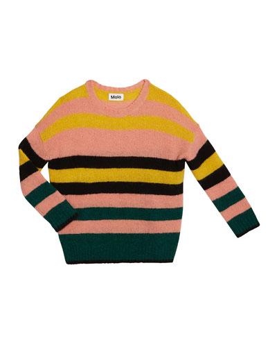 Geneen Mixed Stripe Mohair-Blend Sweater, Size 5-16