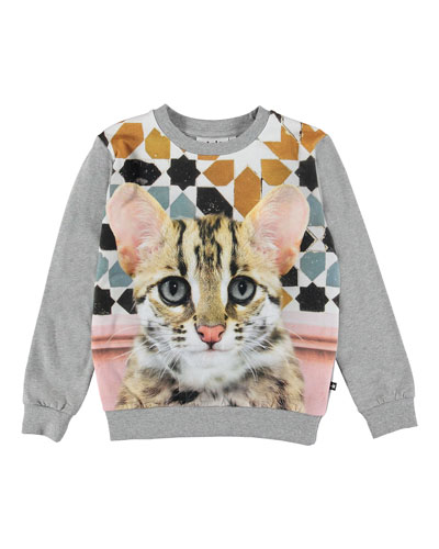 Regine Cat Face Print Sweatshirt, Size 3-10