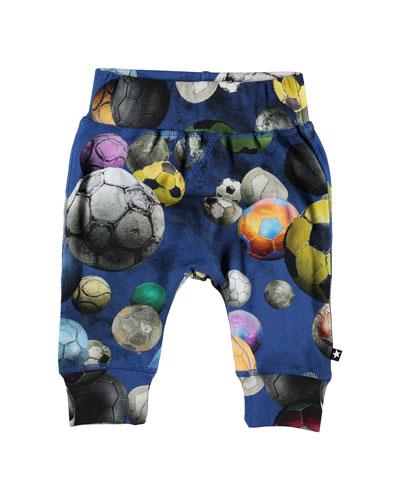 Sammy Soccer Ball print Soft Pants, Size 6-24 Months