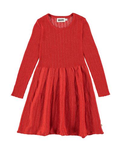 Cameron Ribbed Long-Sleeve Dress w/ Metallic Threading, Size 2T-12