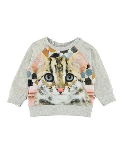 Elsa Cat Face Print Sweatshirt, Size 6-24 Months