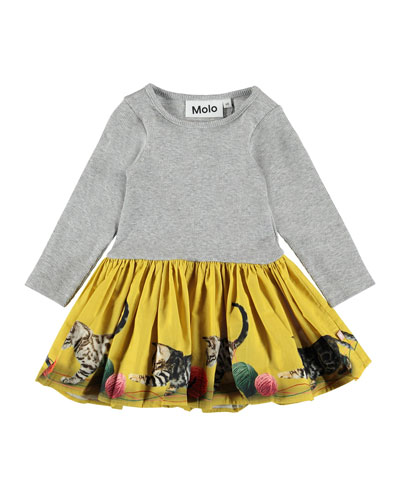 Candi Ribbed Long-Sleeve Dress w/ Printed Skirt, Size 6-24 Months