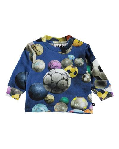 Eloy Soccer Ball Print Long-Sleeve Tee, Size 6-24 Months