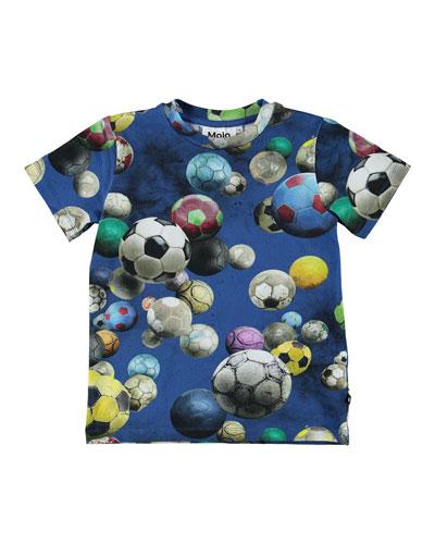 Ralphie Soccer Balls Print Short-Sleeve Tee, Size 4-10