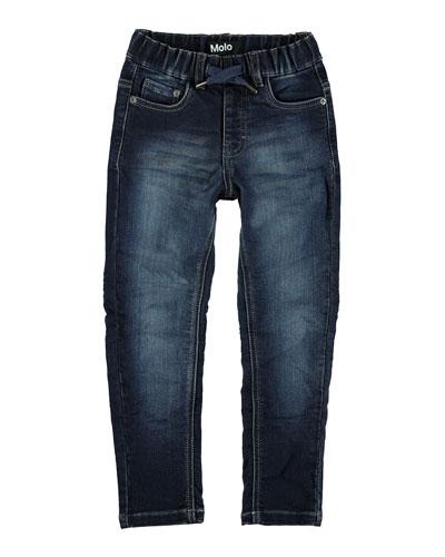 Augustin Drawstring Denim Jeans, Size 4-10