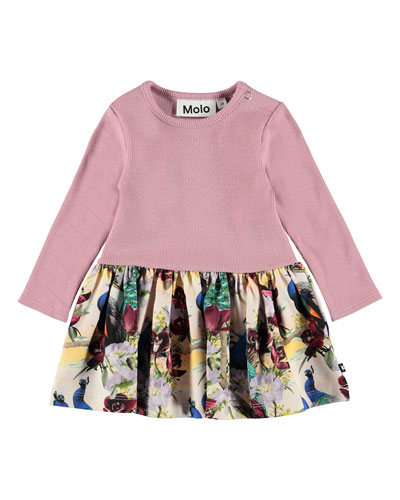 Carel Ribbed Long-Sleeve Dress w/ Printed Skirt, Size 6-24 Months