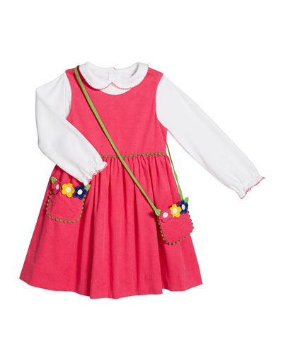 Corduroy Jumper w/ Long-Sleeve Top & Flower Crossbody Bag, Size 2-6X