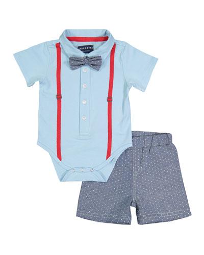 Suspender Shirtzie Bodysuit w/ Matching Shorts, Size 3-36 Months