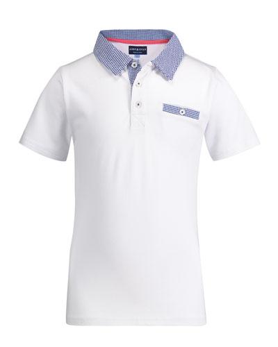 Gingham Trim Polo Shirt, Size 2-6X