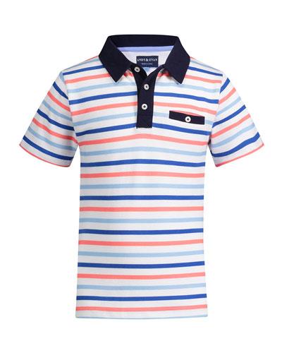 Multicolored Stripe Polo Shirt, Size 2-6X