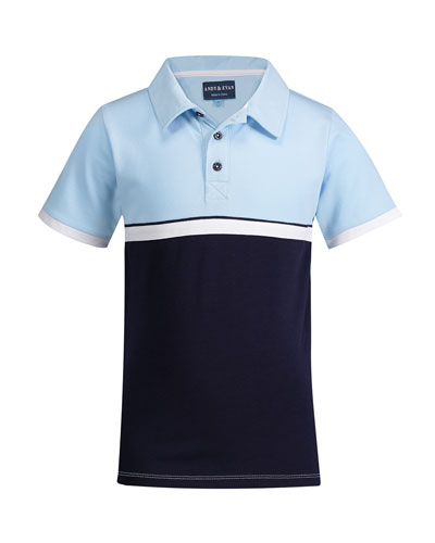 Colorblock Short-Sleeve Polo Shirt, Size 8-14