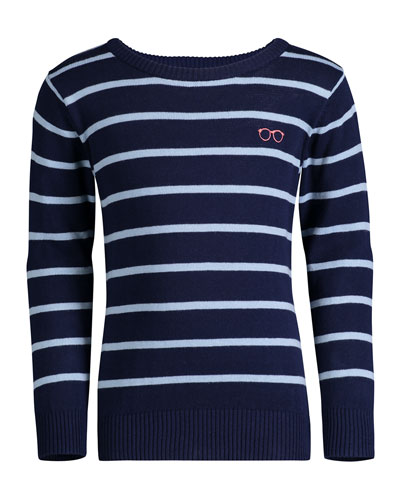 Striped Cotton Sweater, Size 8-14