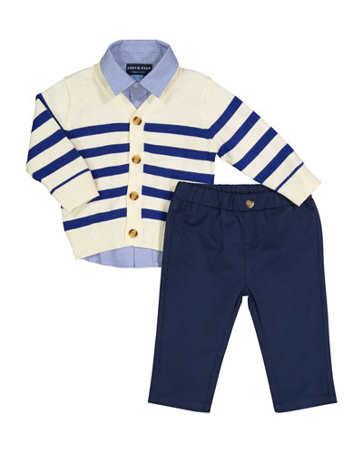 Varsity Cardigan w/ Button Down Shirt & Twill Pants, Size 3-36 Months