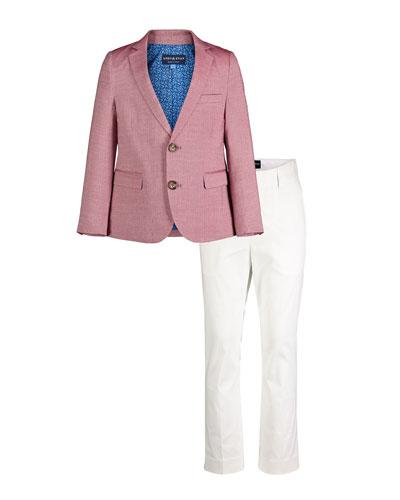 Faded Oxford Blazer w/ Straight-Leg Pants, Size 2-6X