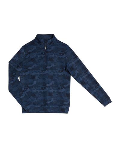 Boy's Perth Camo Quarter-Zip Sweater, Size XS-XL