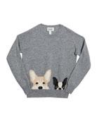 Autumn Cashmere Corgi & Terrier Drop-Shoulder Sweater, Size