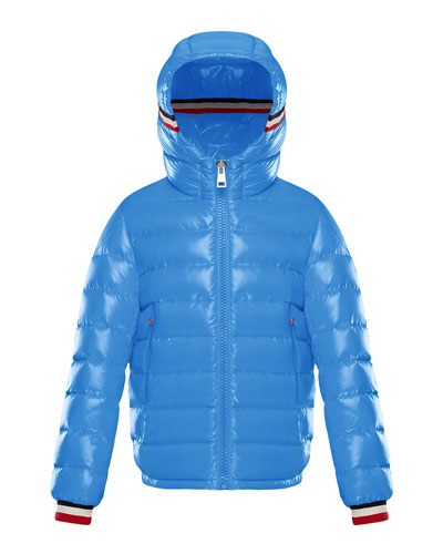 Albericlaque Quilted Hooded Puffer Jacket w/ Flag Trim, Size 4-6