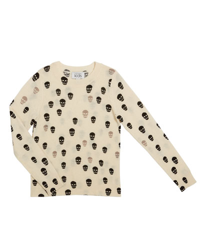Two-Tone Skull Print Sweater, Size 8-16