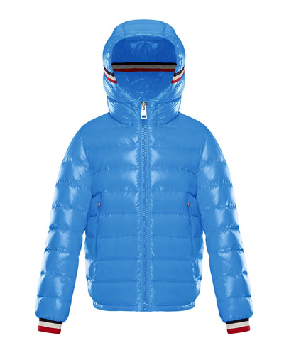 Albericlaque Quilted Hooded Puffer Jacket w/ Flag Trim, Size 8-14