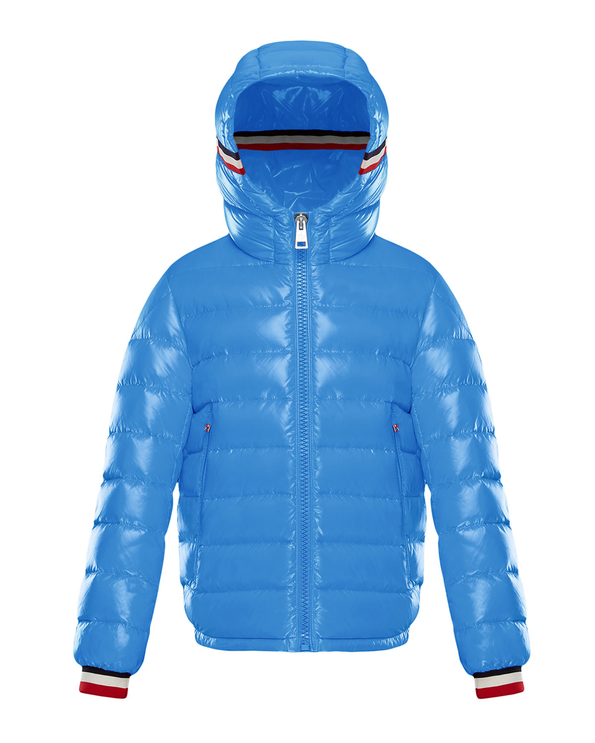 Moncler ALBERICLAQUE QUILTED HOODED PUFFER JACKET W/ FLAG TRIM