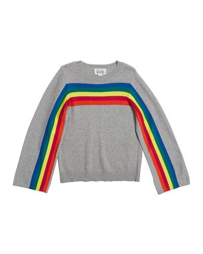 Rainbow Stripe Cotton Sweater, Size 8-16