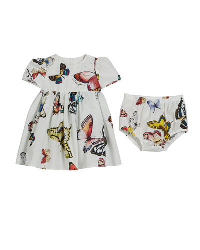 Butterfly-Print Poplin Dress w/ Bloomers, Size 6-30 Months