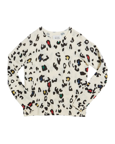 Color Leopard-Print Crewneck Sweater, Size 8-16