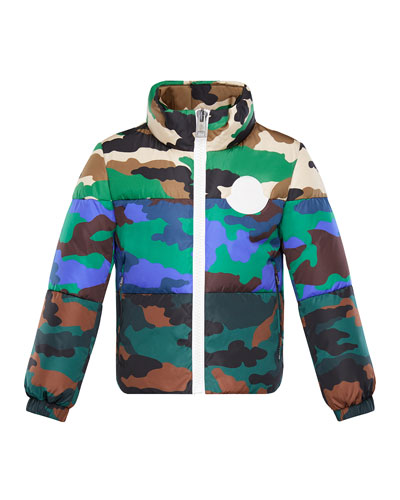 Mixed Camo-Print Puffer Jacket, Size 8-14