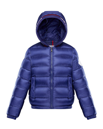 Basslong Season Quilted Logo-Trim Hooded Puffer Jacket, Size 8-14