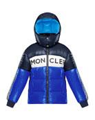 Moncler Febrege Tricolor Logo Hooded Puffer Jacket, Size