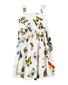 Dolce & Gabbana Butterfly-Print Poplin Sleeveless Dress, Size