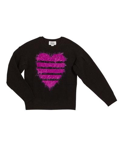 Fuzzy Striped Heart Sweater, Size 8-16